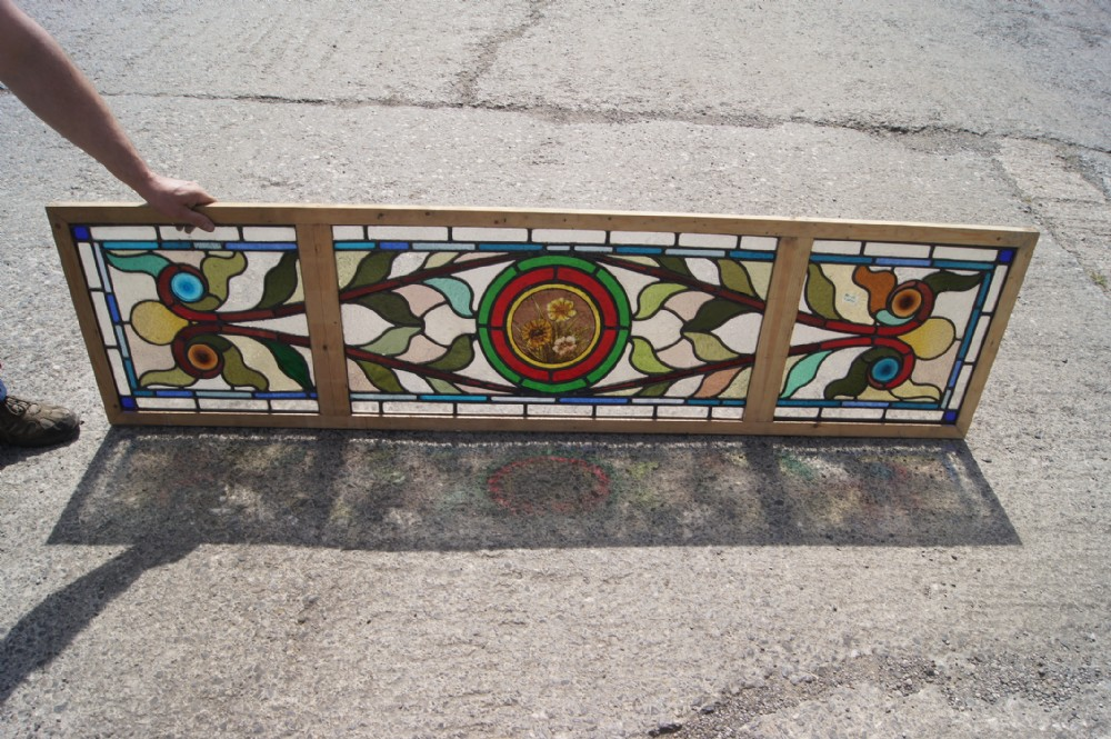 very good antique flower window in the art nouveau style
